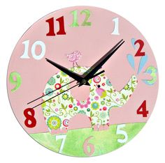 Elephant Clock / Children's Wall Clock / by WithHugsandKisses