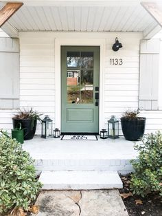 Answering all your Questions! Replacing a Front Door — The Modern Renovator Green Front Doors, Painted Front Doors, Front Door Decor, Home Front Door, Colored Front Doors, Front Porch, Best Front Door Colors, Best Front Doors, Front Door Makeover