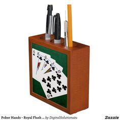 Poker Hands - Royal Flush - Clubs Suit Pencil/Pen Holder