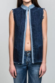 Naive Navy recycled vest from Yours Again / Upcycled denim eco fashion Blue Jean Vest, Blue Denim, Navy Blue, Denim Waistcoat, Denim Ideas, Urban Street Style, Patched Jeans, Textiles, Colored Denim