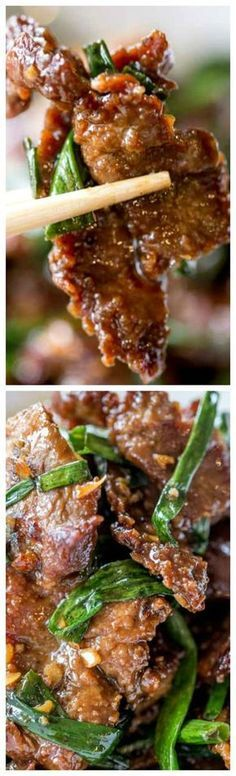 Mongolian Beef ~ Easy to make in just 30 minutes, crispy, sweet and full of garl. Mongolian Beef ~ Easy to make in just 30 minutes, crispy, sweet and full of garlic and ginger flavors you love from your favorite Chinese restaurant. Meat Recipes, Dinner Recipes, Cooking Recipes, Healthy Recipes, Recipies, Chinese Food Recipes, Easy Asian Recipes, Easy Mongolian Beef, Mongolian Recipes