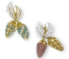 A GROUP OF 'TWO FRUIT' MULTI-GEM AND DIAMOND BROOCHES, BY JEAN SCHLUMBERGER, TIFFANY & CO.