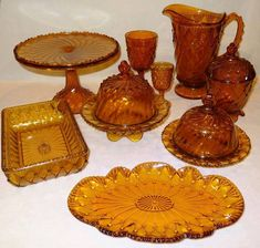 """EAPG """"Cord Drapery"""" pattern Amber glass pieces. NATIONAL GLASS CO. No. .350 INDIANA (OMN) by National Glass Company (IT&G Works) (Greentown-IN, Operated: 1899-1903), 1901 Paul Kirk, Pickled Olives, Chocolate Shapes, Condiment Sets, Pickle Jars, Glass Company, Cake Plates, Amber Glass"""