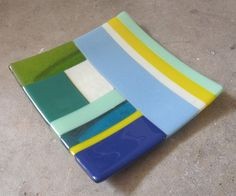 Color block Fused Glass Plate Glass Table Decor by mediumstomasses, $40.00