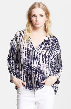 Free shipping and returns on Parker 'Trey' Print Blouse at Nordstrom.com. Prints splash a silk top that beautifully balances its flowy fit with a feminizing V-neckline to create a totally effortless look.