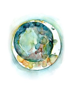 Jewel-tone Embryo Watercolor Print Fertility and IVF OBGYN