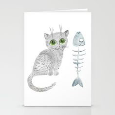 Watercolor gray kitten Stationery Cards