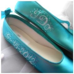 Wedding shoes Tiffany Blue  Ballerina Flats Personalized names date I do crystals. $145.00, via Etsy.
