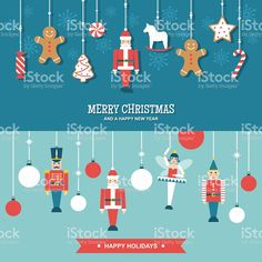 Sweets and toys christmas ornaments flat vector banners royalty-free stock vector art