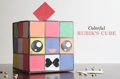 Colorful Rubiks Cube (Chick!) Free Valentine's Day Box Printable template