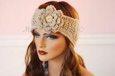 DIY Learn How to Crochet Easy Headband Wrap with Flower (Hair Head Band Ear Warmer) Stitch Crochet, Crochet Cross, Easy Crochet, Knit Crochet, Spiral Crochet, Single Crochet, Crochet Flower Hat, Crochet Beanie, Crochet Hats