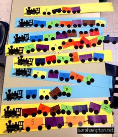 T for train: Name train craft for kids- paint chips for cars? Preschool art / name recognition. Trains Preschool, Transportation Theme Preschool, Preschool Names, Preschool Crafts, Train Activities, Name Activities, Activities For Kids, Toddler Crafts, Crafts For Kids