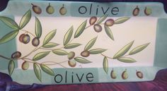 Cypress Haindpainted Ceramic 15x7 Platter Taste of Italy Olive design