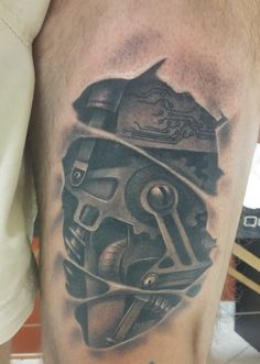 mechanical gear cyberpunk tattoo