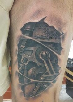 mechanical gear cyberpunk tattoo