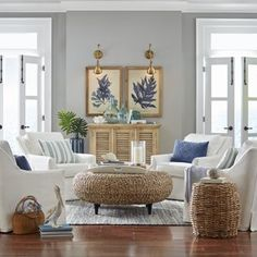 When it comes to the layout of your coastal living room, it will depend on what pieces of furniture you have – but how do you choose what living room furniture to add, whether you're refreshing your living room design… Continue Reading → Coastal Living Rooms, Formal Living Rooms, Home Living Room, Living Room Designs, Coastal Cottage, Coastal Homes, Beach Living Room, Coastal Entryway, Coastal Farmhouse