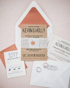 White and peach Invitation suite