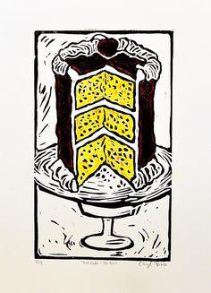 eat cake - hand colored lino print