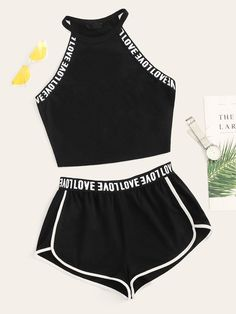 To find out about the Lettering Detail Tape Top & Dolphin Shorts Set at SHEIN, part of our latest Two-piece Outfits ready to shop online today! Cute Lazy Outfits, Sporty Outfits, Mode Outfits, Stylish Outfits, Girls Fashion Clothes, Teen Fashion Outfits, Outfits For Teens, Girl Outfits, Trendy Fashion
