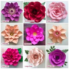SVG 11 Paper Flower Wall: Flower Template Set- Files for Cutting Machines like Cricut and Silhouette, My TO GO Paper Flower Designs for WallPaper Flowers - SVG Petal template with Center, Digital Version, Original by The Crafty Sagittarius, Cricut an Large Paper Flowers, Paper Flower Wall, Diy Flowers, Diy Cardstock Flowers, Fabric Flowers, Potted Flowers, Paper Roses, Flower Petal Template, Paper Flower Tutorial