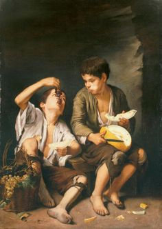 Bartolome Esteban Murillo Beggar Boys Eating Grapes and Melon oil painting for sale; Select your favorite Bartolome Esteban Murillo Beggar Boys Eating Grapes and Melon painting on canvas or frame at discount price. Baroque Painting, Baroque Art, Spanish Painters, Spanish Artists, Esteban Murillo, Classic Paintings, Original Paintings, Oil Painting Reproductions, Caravaggio