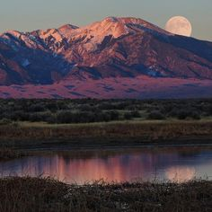 At #GreatSandDunes National Park, you can almost feel the earth rotating in its enigmatic dance with the moon and other planets. @greatsanddunesnps's valley alone is the size of the state of Connecticut: distances are huge and deceptive in the clear, high-altitude air. This week's #supermoon rises over this #Colorado wilderness and reflects in shimmering wetlands, revealing the mysterious presence of dunes at the base the Sangre de Cristo Mountains. Photo by Patrick Myers, #NationalPark…