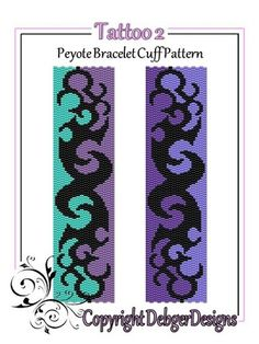 Tattoo 2 Beaded Peyote Bracelet Cuff Pattern
