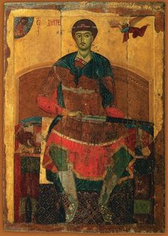 Orthodox icons / Icons of Saint Demetrius of Thessalonica / Saint Demetrius of Thessalonica. The Vladimir-Suzdal school icon from Assumption Cathedral in Dmitrov. Byzantine Icons, Byzantine Art, Religious Icons, Religious Art, Marc Chagall, School Icon, Russian Icons, Religious Paintings, Les Religions