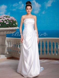 A-line Taffeta Sweep/ Brush Train Strapless Wedding Dress - $169.99