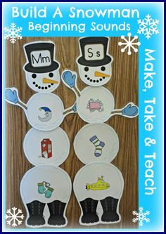 Use paper plates and have kids put pix on the plates to build a snowman.  Could be used for rhyming, beginning sound, ending sound, sorting number of syllables.