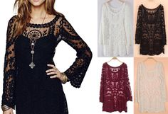 FREE PEOPLE WOMENS S M L XL BOHO HIPPIE LACE EMBROIDERED SEXY TUNIC TOP DRESS #PangaandDuckie #Tunic #Casual
