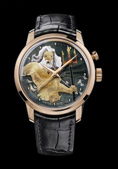 """200550E81.BBK101 Limited edition of 18 pieces Case: 5N 18K pink gold Case-back: sapphire revealing the stylised """"V"""" for Vulcain Dial: """"Grand Feu"""" cloisonné enamel """"Poseidon"""" Diameter: 42.00 mm Height: 14.60 mm Glass: domed shape sapphire crystal Water resistance: 5 ATM  #enamelwatch #luxurywatch #vintagewatch #alarmwatch #cricketwatch #baselworld2015 #limitededition"""