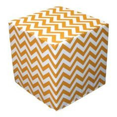 """Indoor/outdoor foam cube with yellow chevron upholstery.   Product: CubeConstruction Material: Polyester and high density foamColor: Yellow and whiteDimensions: 16"""" H x 16"""" W x 16"""" DCleaning and Care: Spot clean. Cover can be machine washed and air dried."""