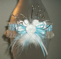 Something Blue and White Organza Disney Mickey Mouse Feather Fur Silver Curl Sparkle Wedding or Prom 2016 Garter