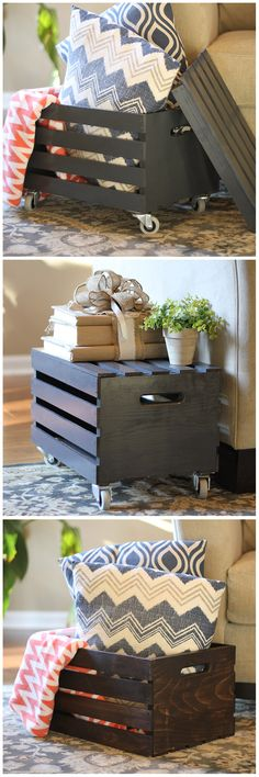 Wood crates aren't just for rustic style, they are quite versatile! Use them as an ottoman, an end table or just a simple storage unit. Check out our selection of wooden crates for your next organizat (Diy Storage Unit) Diy Storage, Wood Storage, Storage Ideas, Crate Storage, Storage Bins, Crate Shelves, Storage Cart, Record Storage, Storage Design
