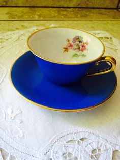 Blue. Tea cup. Vintage.