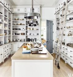 Tons of stunning pantries & butlers pantries full of inspiration! This beauty via Architectural Digest