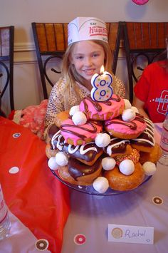 donut cake - photo for stacking reference. I like the color blocking of glazed, chocolate, pink, with powdered donut hole polka dots.