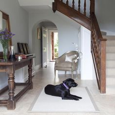 Looking for hallway colour schemes? From the best grey paint to blue and green hallway decorating ideas, here's our pick of the best hallway colour ideas Blue Hallway, Tiled Hallway, Entry Hallway, Hall House, Up House, House Entrance, Entrance Halls, Georgian Interiors, Georgian Homes