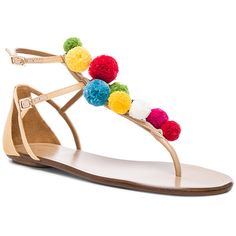Aquazzura Pom Pom Leather Infra Sandals ($14,360) ❤ liked on Polyvore featuring shoes, sandals, beige shoes, leather shoes, genuine leather shoes, real leather shoes and beige leather sandals