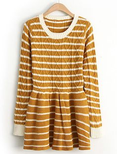 Yellow Long Sleeve Striped Diamond Patterned Dress - Sheinside.com (Probably would be a tunic, not a dress..)