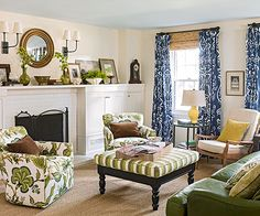 Greens of the garden variety appear both literally and figuratively in this living room! http://www.bhg.com/decorating/color/schemes/living-room-color-schemes/?socsrc=bhgpin022815naturallygreen&page=7