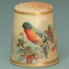 Antique Royal Worcester Blush Thimble w/ Bird * Circa 1870-90