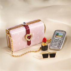 Limoges Pink Handbag Box with Cell Phone
