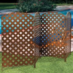 Use this metal privacy screen to hide unsightly yard views, or to create a wall between you and the neighbors. This outdoor privacy screen features a latticework design. The yard privacy screen can be set up in a row or angled. Privacy Fence Landscaping, Privacy Screen Outdoor, Privacy Panels, Backyard Privacy, Privacy Fences, Landscaping Ideas, Balcony Privacy, Privacy Hedge, Garden Privacy