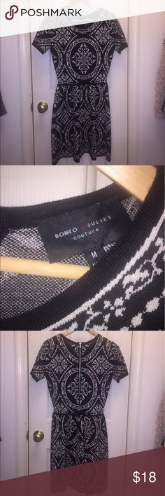 Romeo + Juliet Couture Sweater Dress Sz M You have to love this modern spin on a sweater dress. It is fit and flare and made of a viscose nylon blend. Romeo & Juliet Couture Dresses