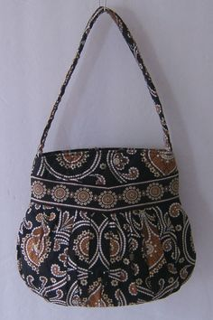 Vera Bradley Caffe Latte Hannah Shoulder Bag Purse Handbag Pleated Retired 2009 #VeraBradley #ShoulderBag