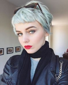 Image result for pale pink very short hair with fringe