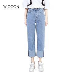 18.99$  Watch here - http://alivsj.shopchina.info/go.php?t=32800335513 - Fashion  Vintage full Length jeans cuffs High waist denim Trousers loose straight pants washed women casual with pockets summer  18.99$ #buyonlinewebsite