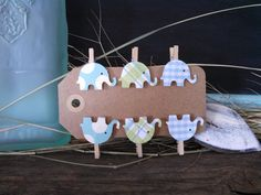 12 Blue Mini Elephant Clothes Pins polka Dot and by SweetThymes, $5.99